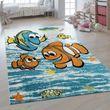 Children's Rug 3D Effect Finding Nemo Fish Blue 001