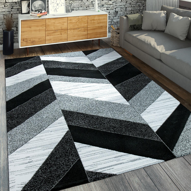 Moderner Kurzflorteppich Geometrisches Muster Grau Schwarz