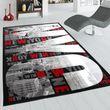 Designer Teppich New York Grau Rot 001