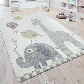 Children's Rug Pastel Flower Motif Cream