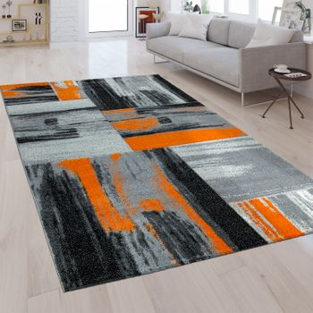 Modern Short Pile Rug Brush Style Orange