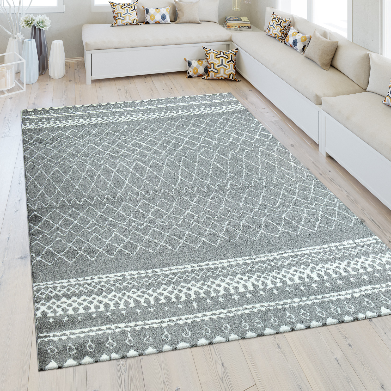 heatset teppich marokkanisches muster silber grau design. Black Bedroom Furniture Sets. Home Design Ideas