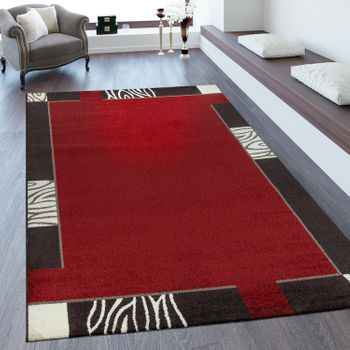 Short Pile Rug Border In Red