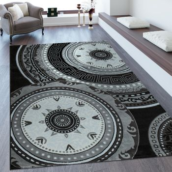 Short Pile Rug Classic Pattern Black
