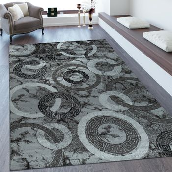 Short Pile Rug Geometric Pattern Silver Grey