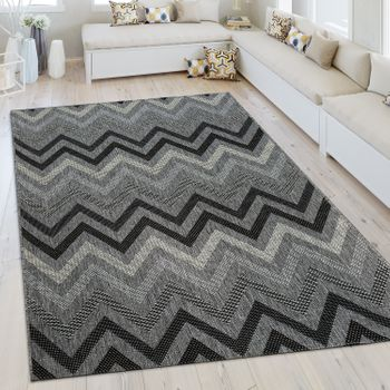 Indoor & Outdoor Rug Zigzag Pattern Grey