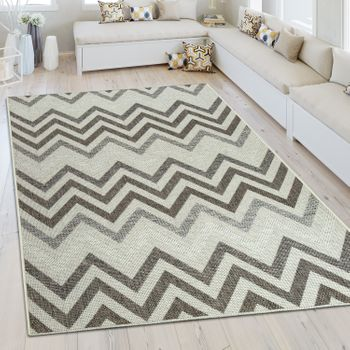 Indoor & Outdoor Rug Zigzag Pattern Cream