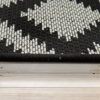 In- & Outdoor Teppich Rauten Design Schwarz Weis – Bild 2