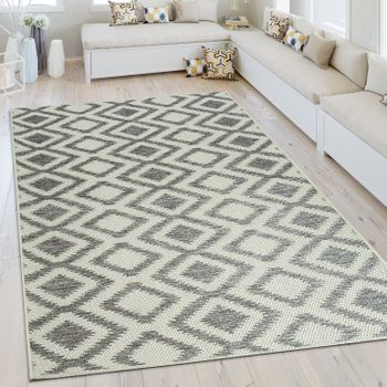 Indoor & Outdoor Rug Diamond Design Cream