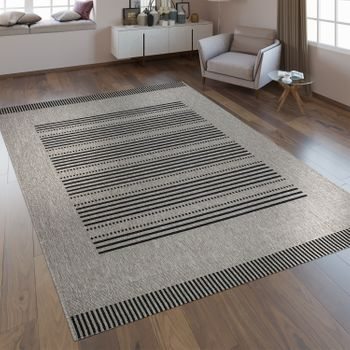 Flat Woven Rug Sisal Look Stripes Grey