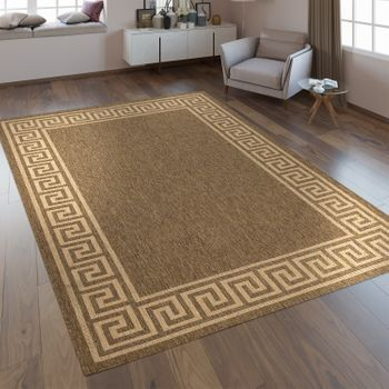 Flat Woven Rug Border Brown