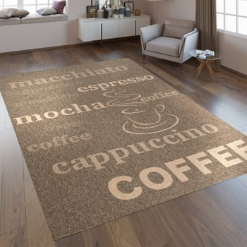 Flat Woven Rug Lettering Coffee Brown