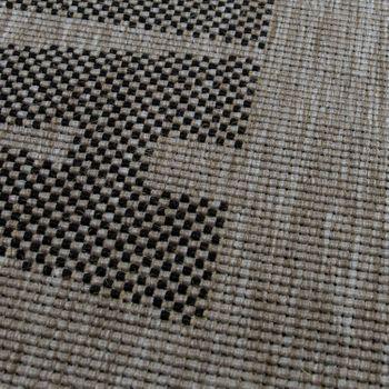 Flachgewebe Teppich Schriftzüge Städte Silber – Bild 3