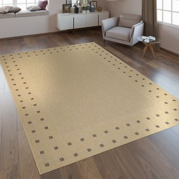 Flachgewebe Teppich Bordüre Beige