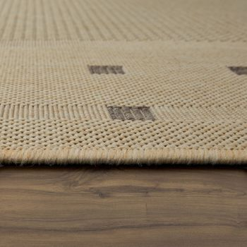 Vlakgeweven vloerkleed rand beige – Bild 2