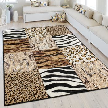 Modern Short Pile Rug Animal Print Design Beige