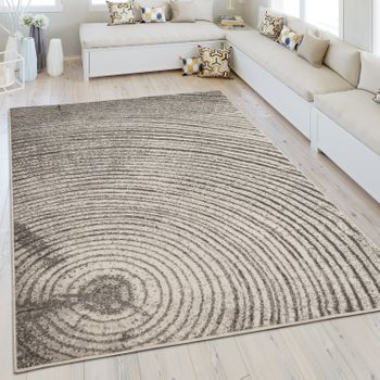 Modern Short Pile Rug Mottled Tree Rings Grey