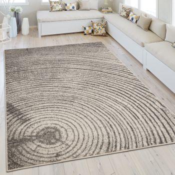Moderner Kurzflorteppich Meliert Jahresringe Grau