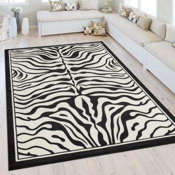 Modern Short Pile Rug Zebra Look Black White