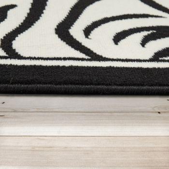 Moderner Kurzflorteppich Zebra Optik Schwarz Weiß – Bild 2