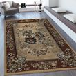 Oriental Rug Border Floral Design Beige Brown 001