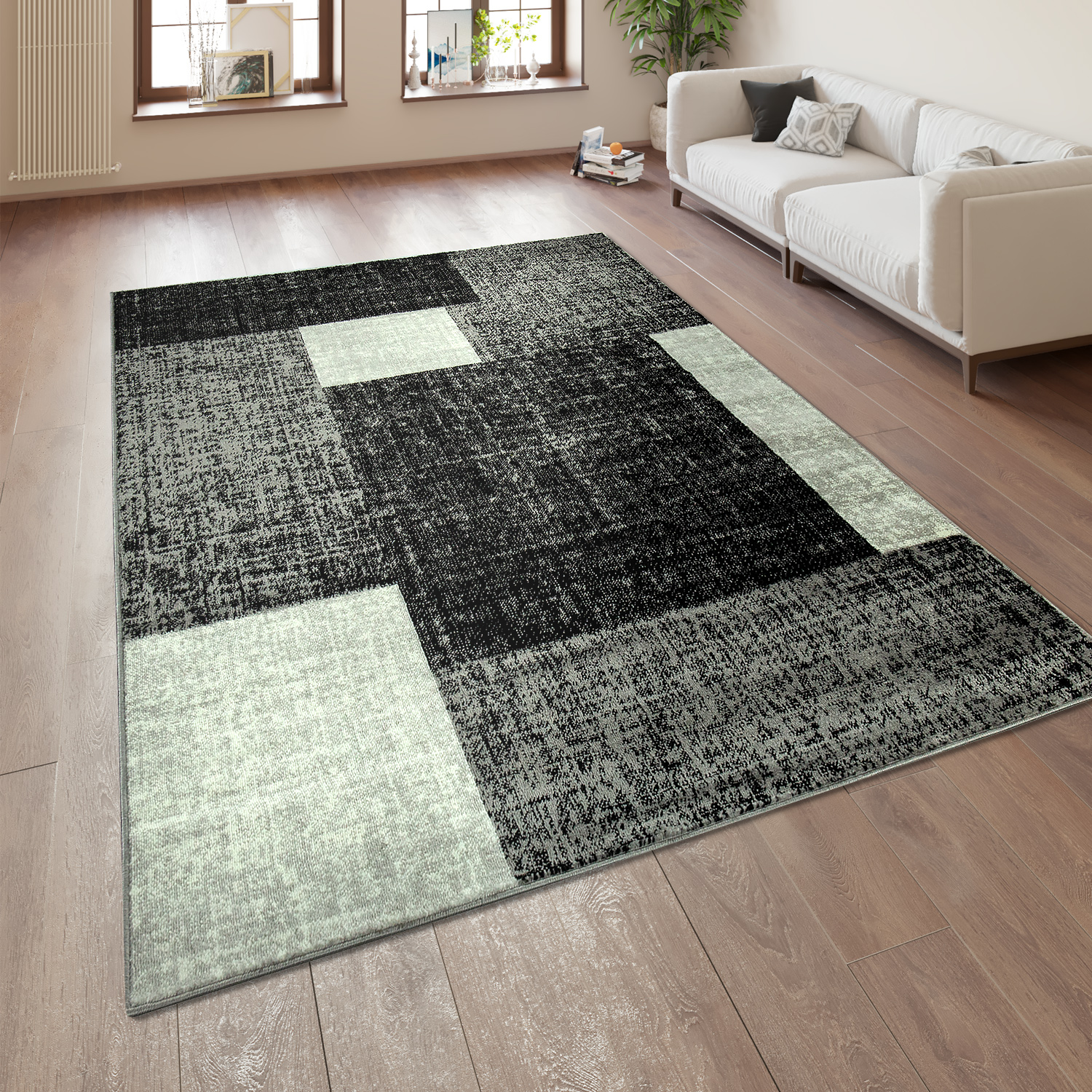 Checked Black Grey Rug: Designer Rug Checked Pattern Grey White
