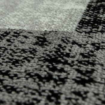 Designer Rug Checked Pattern Grey White – Bild 3