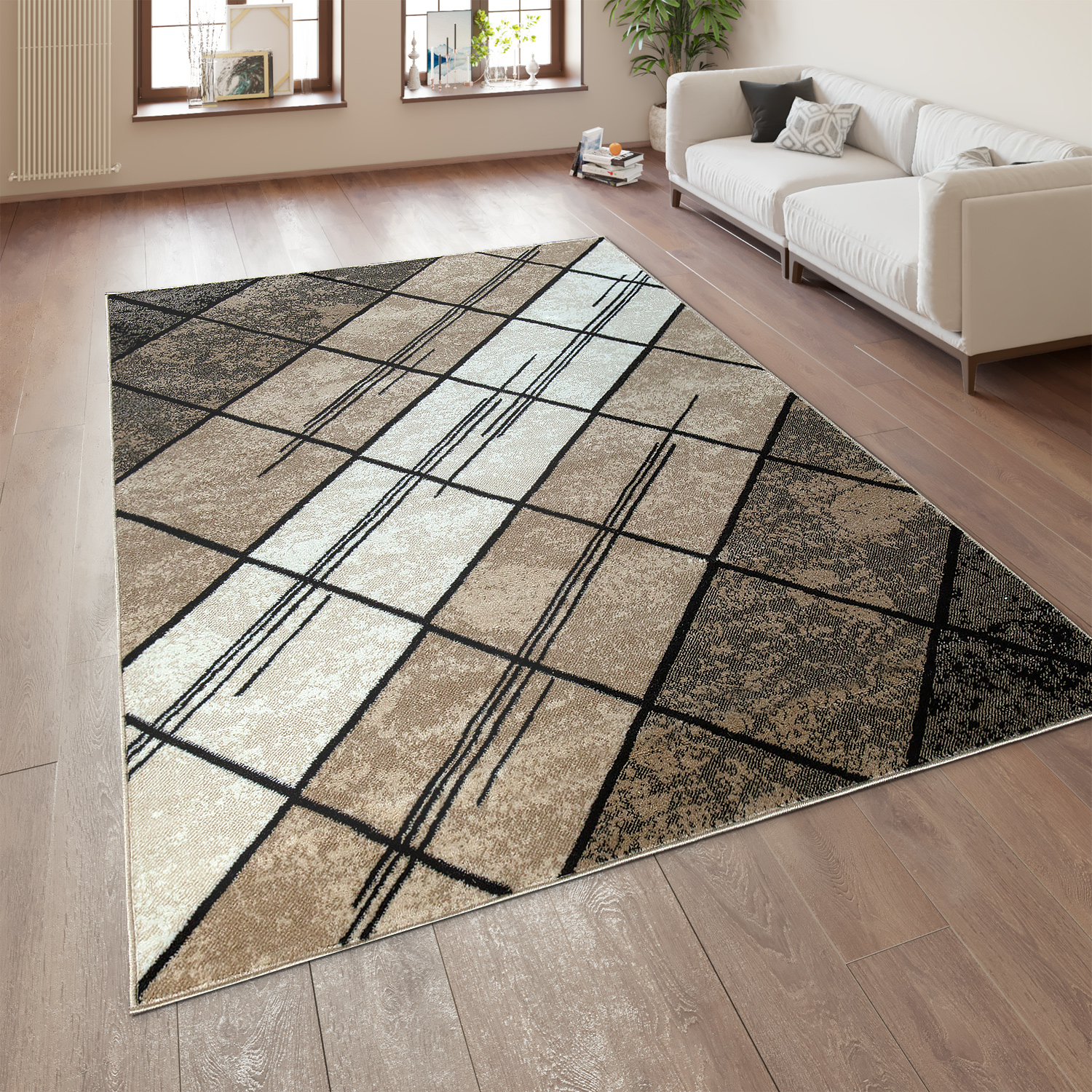 Designer Rug Geometric Pattern Brown Beige