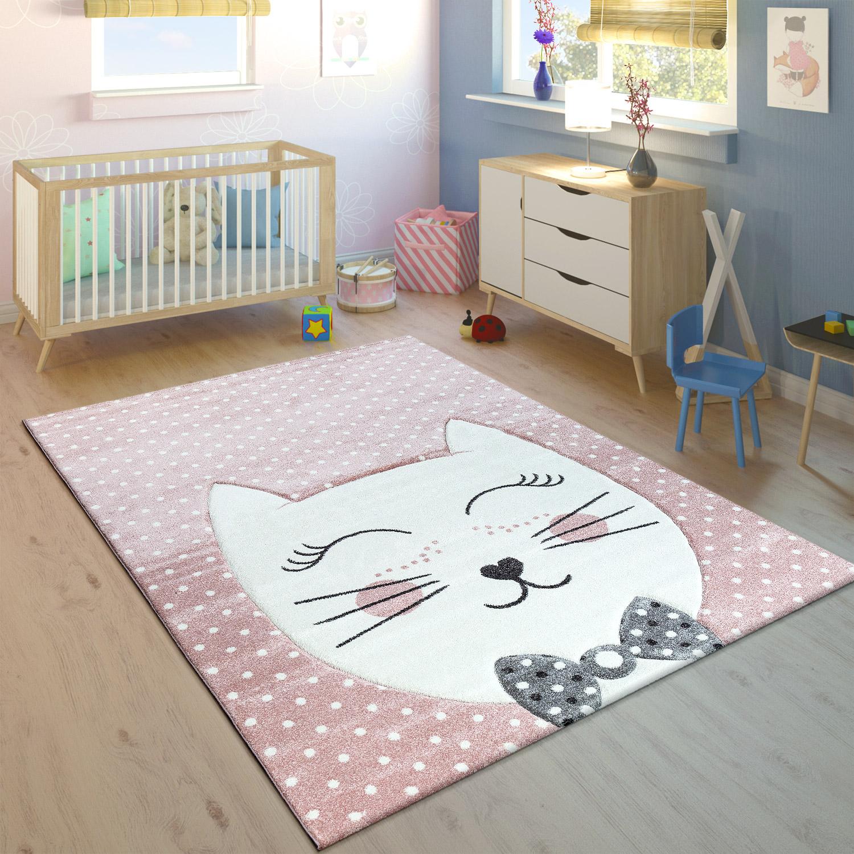 Tappeto per bambini con disegno Stregatto moderno grigio
