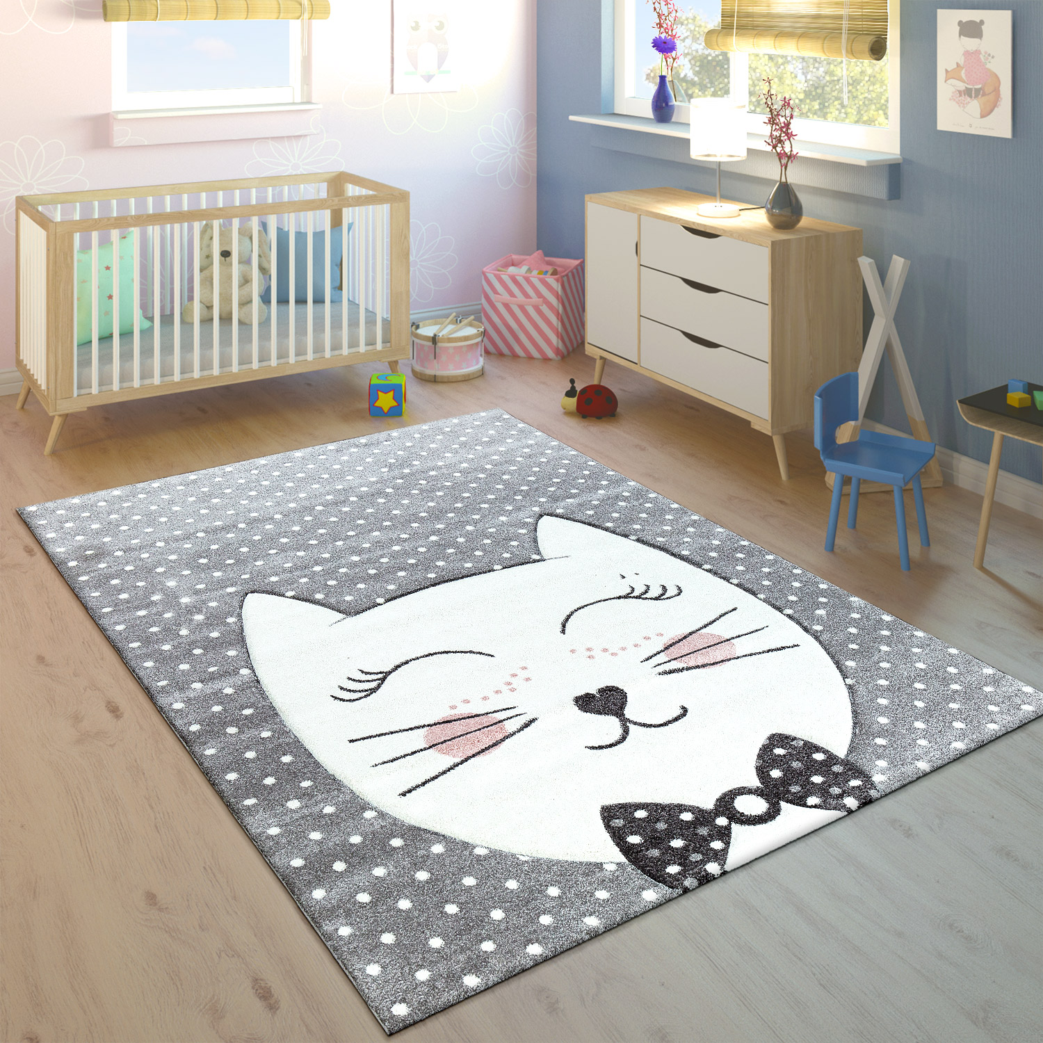 tapis pour enfant chat du cheshire pastel rose tapis enfants. Black Bedroom Furniture Sets. Home Design Ideas