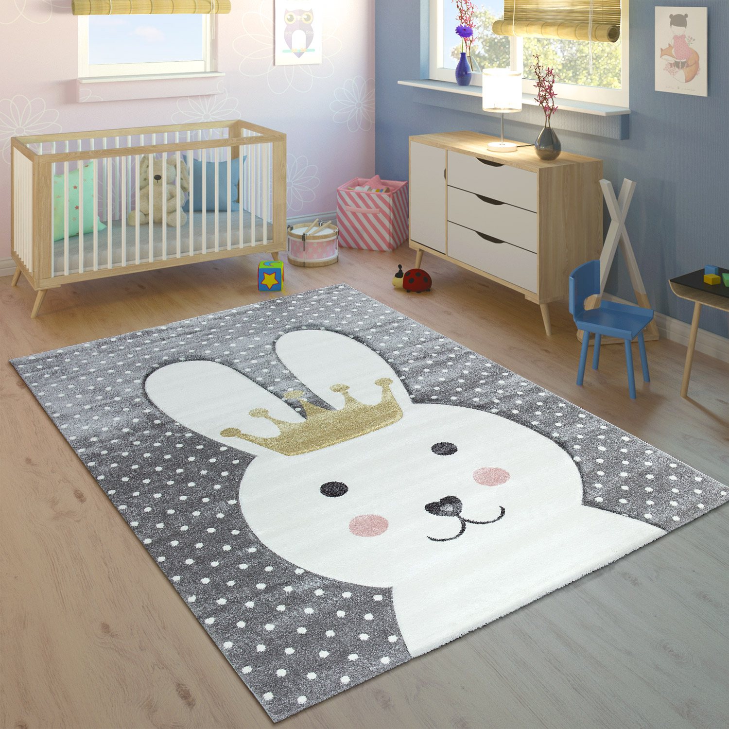 Children's Rug Rabbit With Crown Pastel Grey