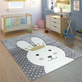 Children's Rug Rabbit With Crown Pastel Grey – Bild 1