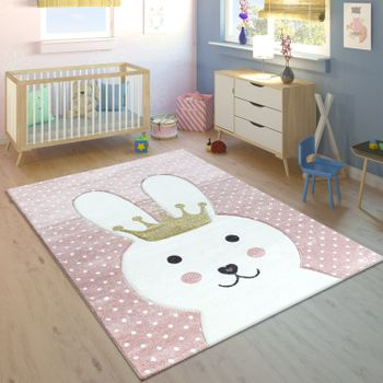 Children's Rug Rabbit With Crown Modern Grey