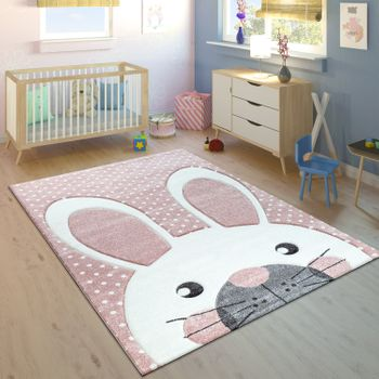 Children's Rug Cute Rabbit Pastel Pink – Bild 1