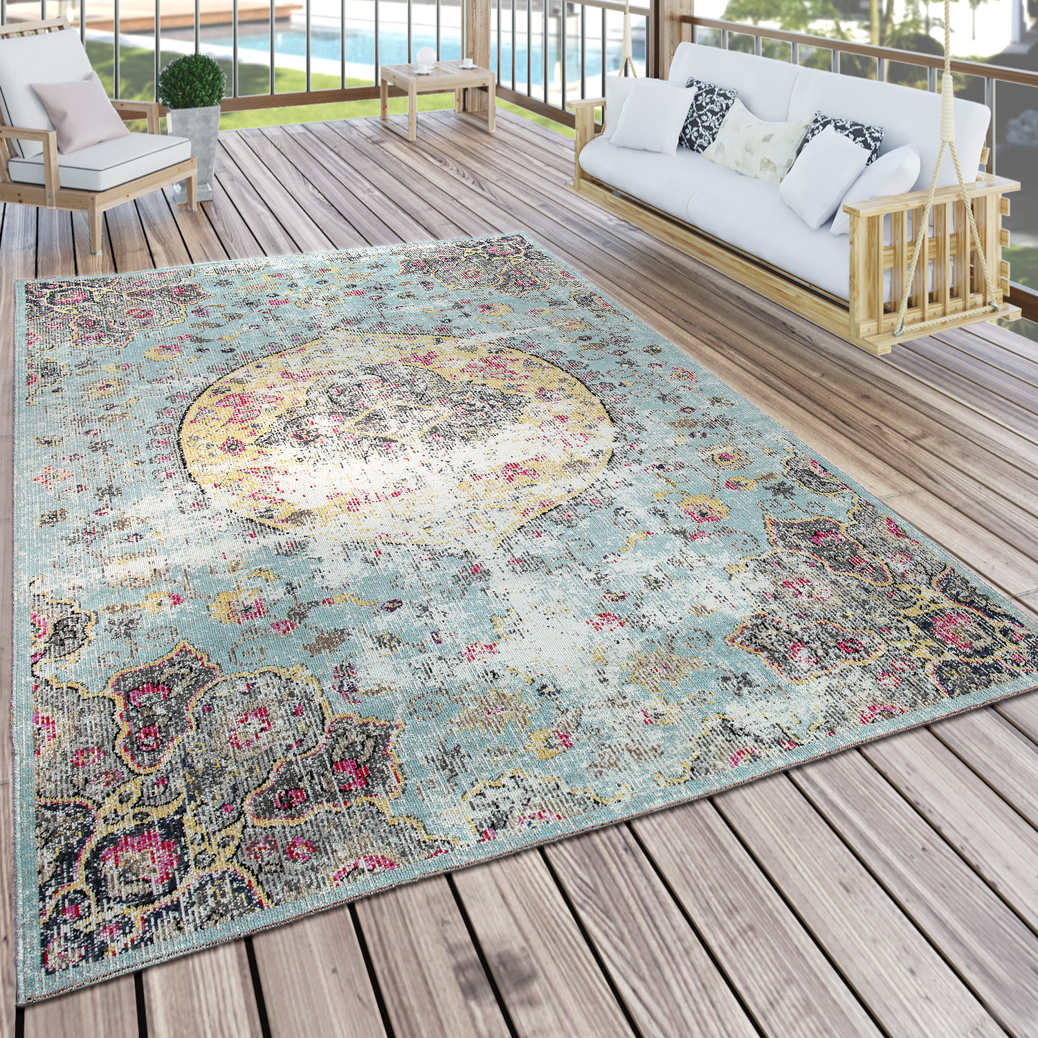 Indoor & Outdoor Rug Oriental Pastel Turquoise Pink Yellow