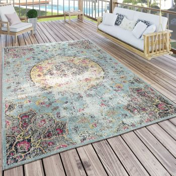 Indoor & Outdoor Rug Oriental Pastel Turquoise Pink Yellow – Bild 1