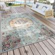 Indoor & Outdoor Rug Oriental Pastel Turquoise Pink Yellow 001