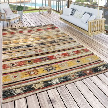 Indoor & Outdoor Rug Ethnic Cream Red Yellow
