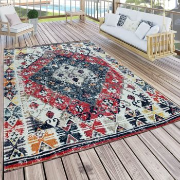 Indoor & Outdoor Rug Oriental White Red Blue – Bild 1