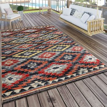 Indoor & Outdoor Rug Zigzag Red Orange Black