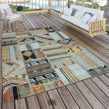 Indoor & Outdoor Rug Ethnic Yellow Cream Red – Bild 1