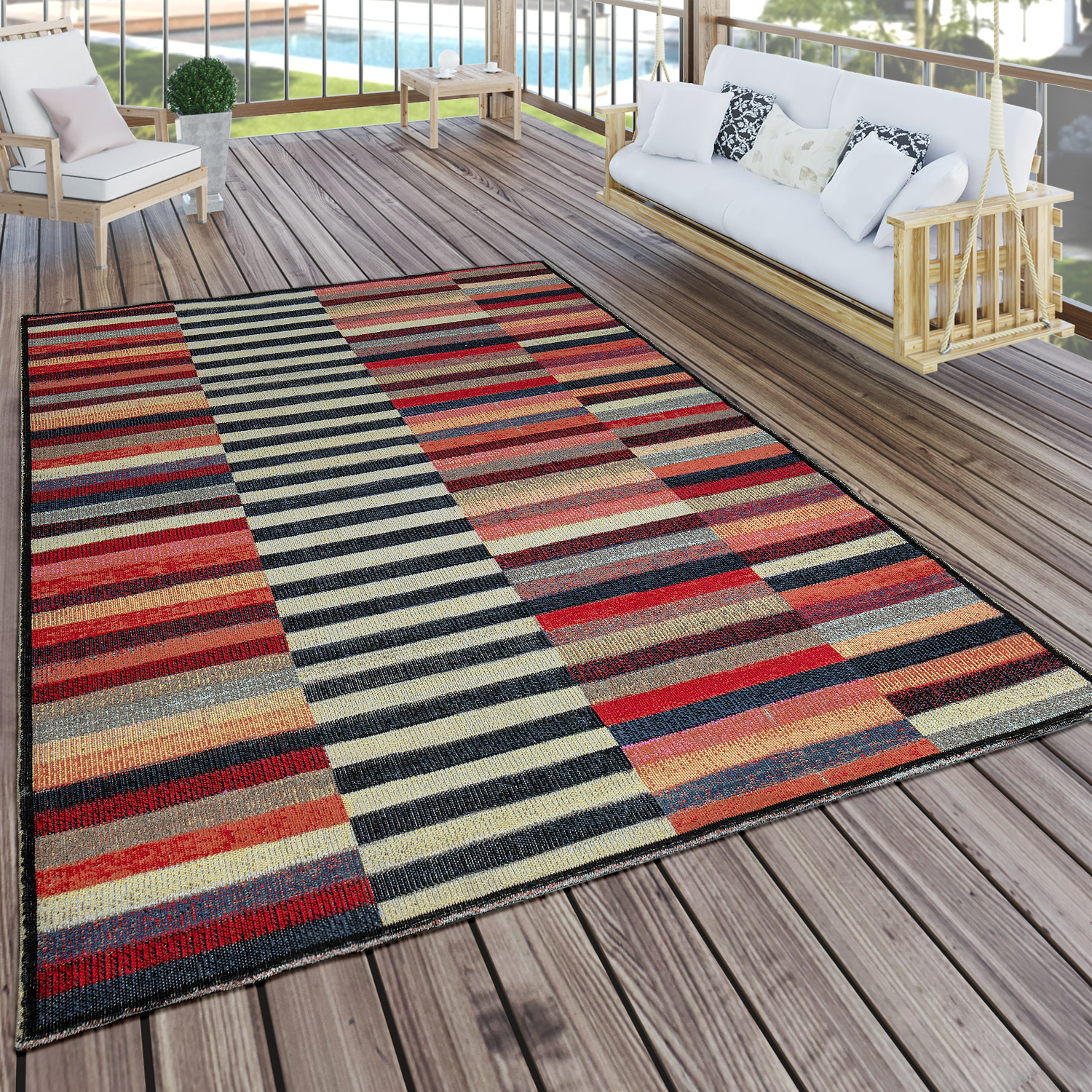 Indoor Amp Outdoor Rug Colourful Boho Stripes Rug24