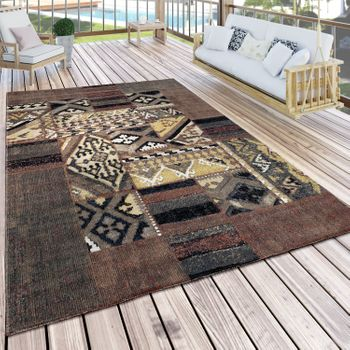 Indoor & Outdoor Rug Pattern Mix Brown Beige Green