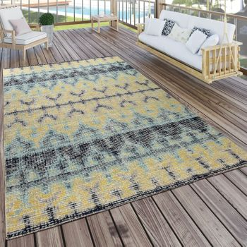 Indoor & Outdoor Rug Boho Yellow Turquoise Black
