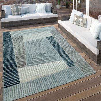 Indoor & Outdoor Rug Geometric Turquoise Grey – Bild 1