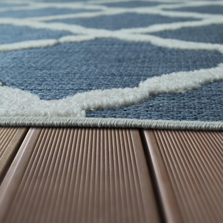 In outdoor teppich zick zack muster blau design teppiche - Teppich schwarz weiay zick zack ...