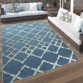 Indoor & Outdoor Rug Zigzag Pattern Blue