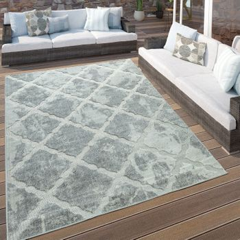 Indoor & Outdoor Rug Marble Look Diamonds Grey – Bild 1
