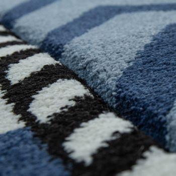 Kinderteppich Indigo Blau Weiß Maritim Trend 3D Matrosen Design Kurzflor – Bild 3