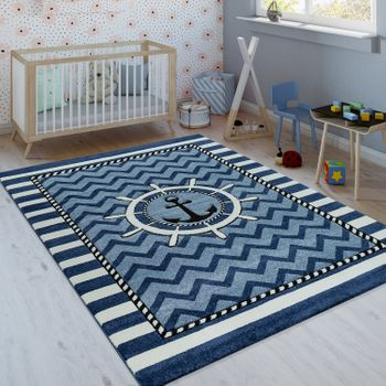 Children's Rug Sailors Design Blue White